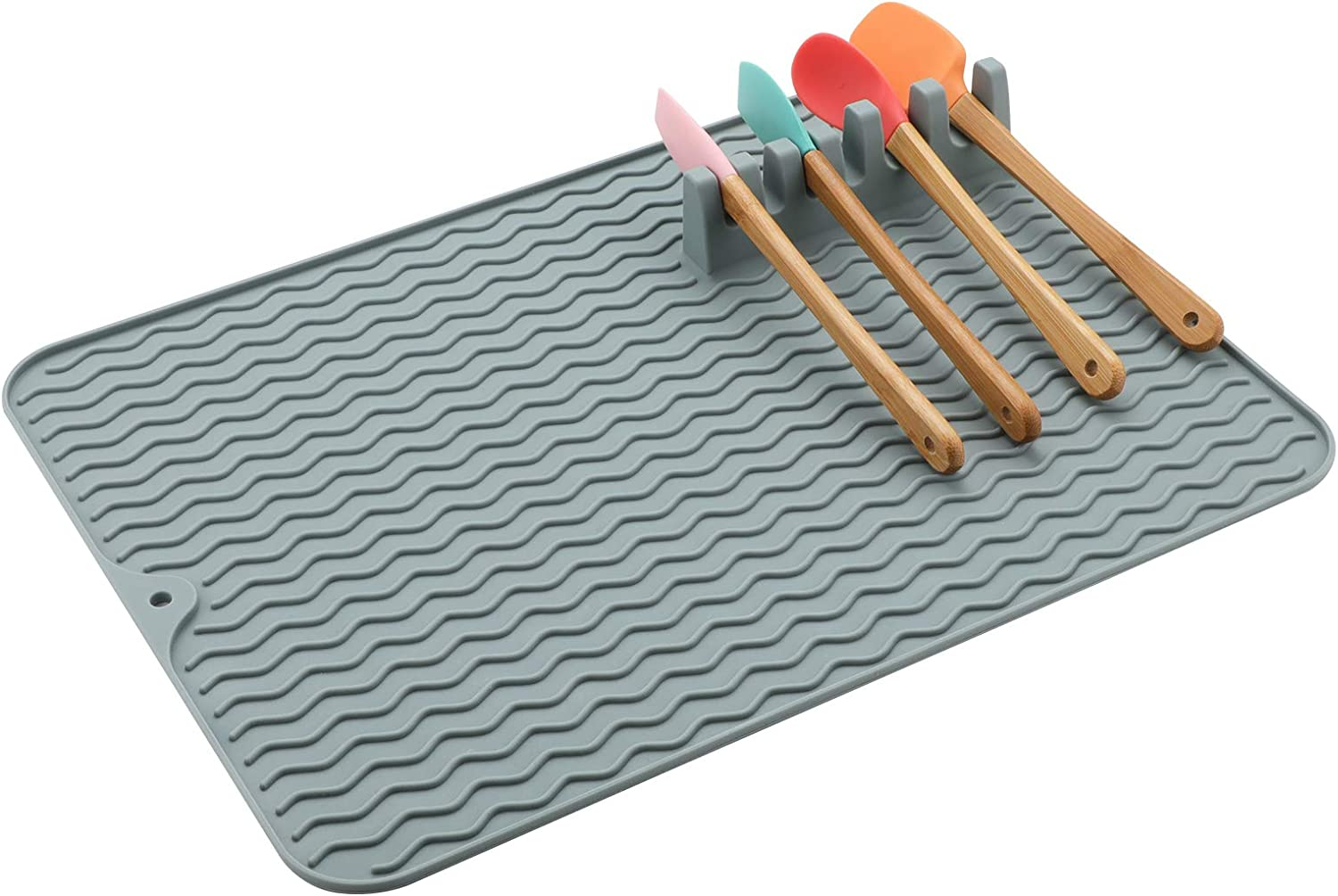 Dish Drying Mat, Dishes Drainer Mats, Food Grade Silicone Dish Mat for Kitchen Counter Sink Picnic Camping (Grey 16 x 12 inch)