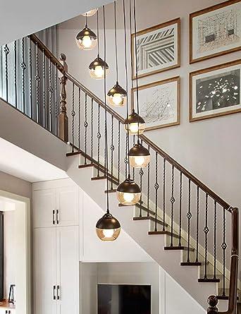 Lámpara colgante de luces múltiples 8 Escalera Araña larga Escalera giratoria Araña de vidrio Araña larga para escaleras: Amazon.es: Iluminación