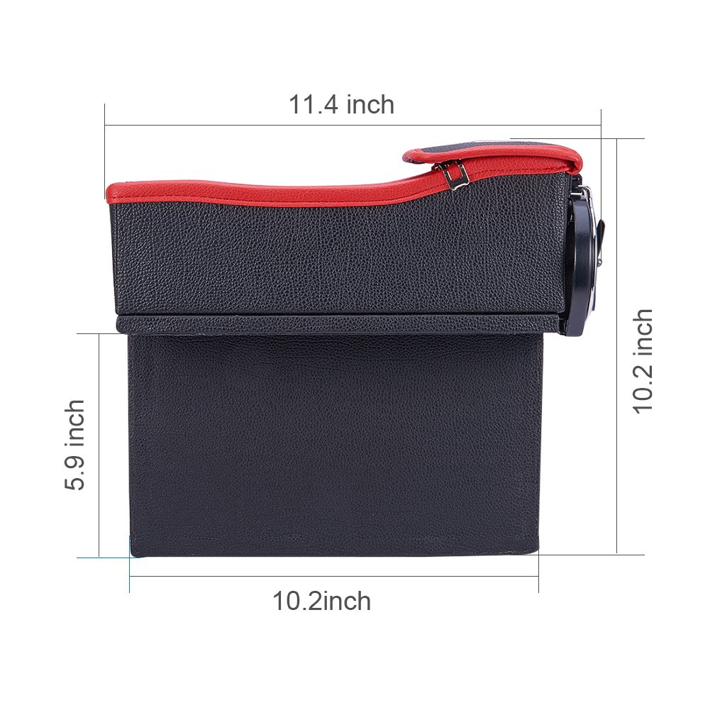 1PCS, destra nero e rosso, seggiolino auto filler Gap Space Storage box Bottle Cup Holder moneta da collezione Blueshyhall PU leather car seat Catcher