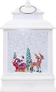 LED Santa and Sleigh Lantern White Glitter 11 inch Acrylic Holiday Snow Globe