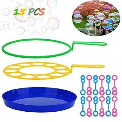 B bangcool Big Bubble Wands Set - Bubbles Wand Funny Bubbles Makers for Outdoor Playtime & Birthday Party & Backyard Games, Suitable for All Age People (15 PCS): Toys & Games