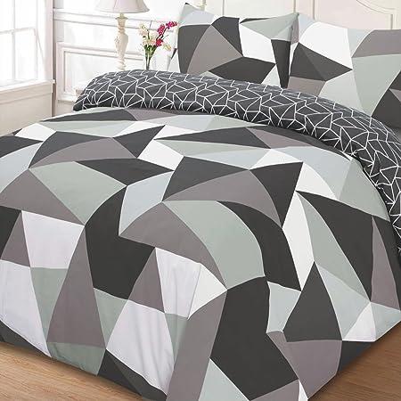 Just Contempo Geometric Duvet Cover Set, Single, Grey