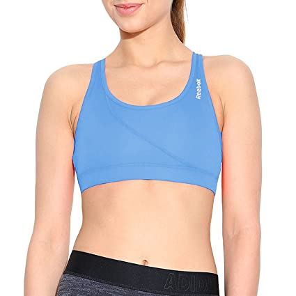 fc830dca87 Amazon.com: Reebok Womens AP PlayDry Racerback Sports Bra - Blue - S ...