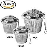 3-Pack Tea Infuser Set,Ultra Fine Stainless Steel Strainer,Loose Leaf Tea Infuser (3 Size Large Middle Small)