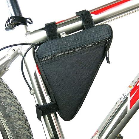 Bolsa Bicicleta Maletas para Tapa Bolso de Bicicleta Triangle, Gran Capacidad Marco Frontal Bolsa Marco Bicicleta Cremallera Bolso para Carretera Montaña Ciclismo Bicicleta-Todo negro-20*18.5*4Cm: Amazon.es: Deportes y aire libre