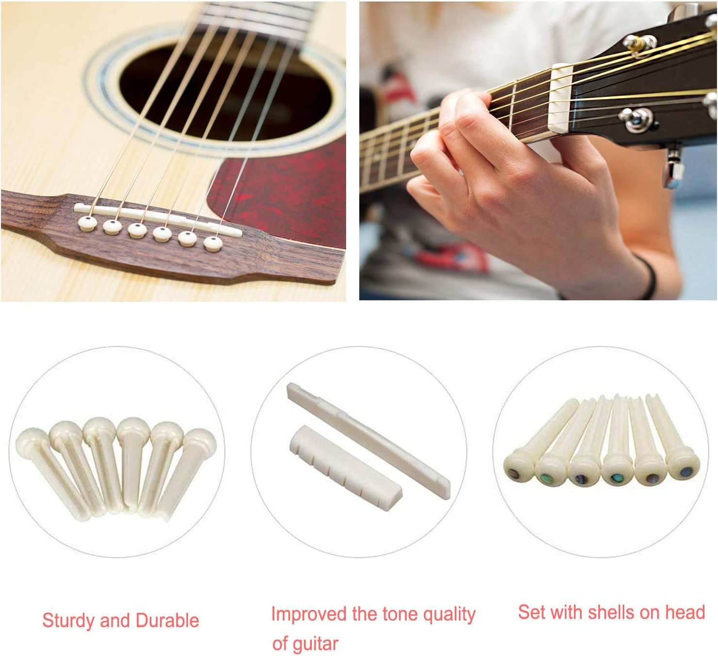 VOSON Guitar Bone Bridge Saddle /& Nut with 6pcs Guitar Bone Bridge Pins,Made of Real Bone for Acoustic Guitar