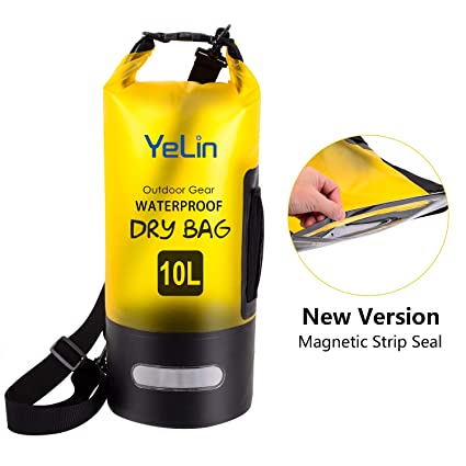 Boating Swimming Travel Gifts Camping Kayaking YELIN Waterproof Dry Bag Floating Marine Dry Pack 10 Liter IPx8 Waterproof Case with Magnetic Strip Seal for Beach