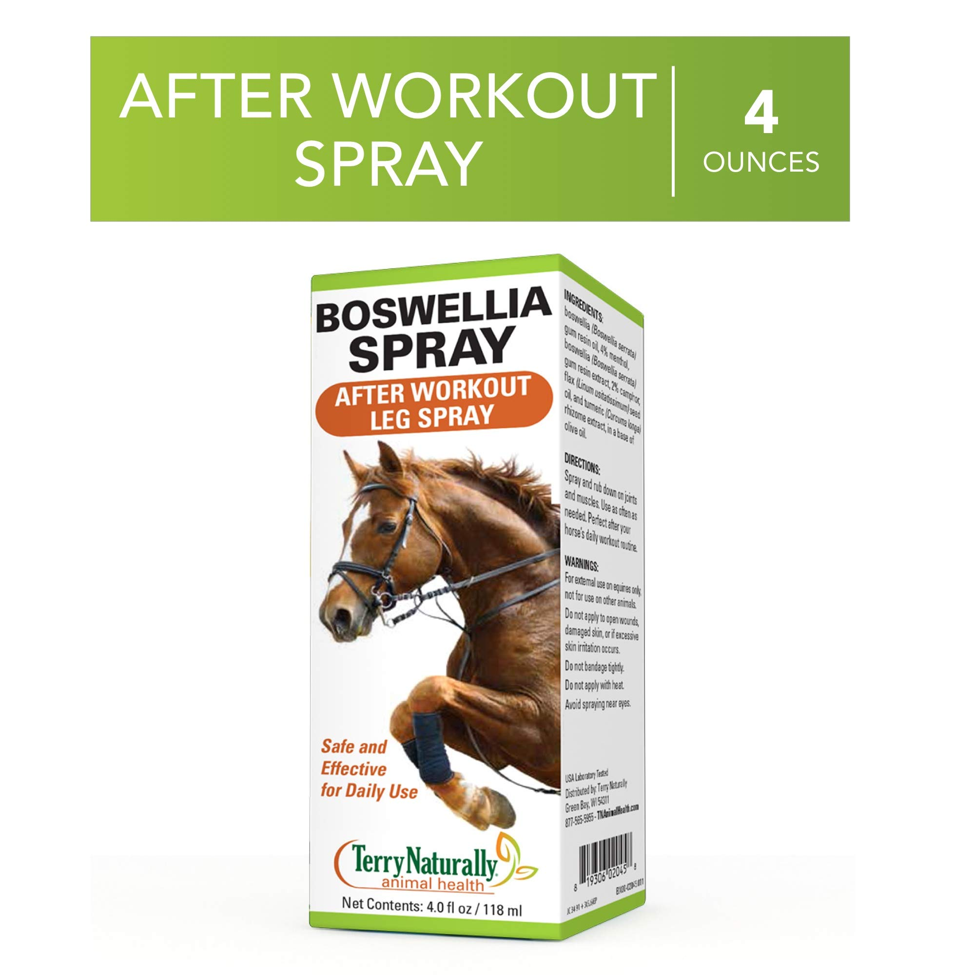 Terry Naturally Animal Health Boswellia Spray - 4 fl oz - After Workout Leg Spray for Horses, Safe & Effective for Daily Application On Joints & Muscles - External Use, for Equines Only by Terry Naturally