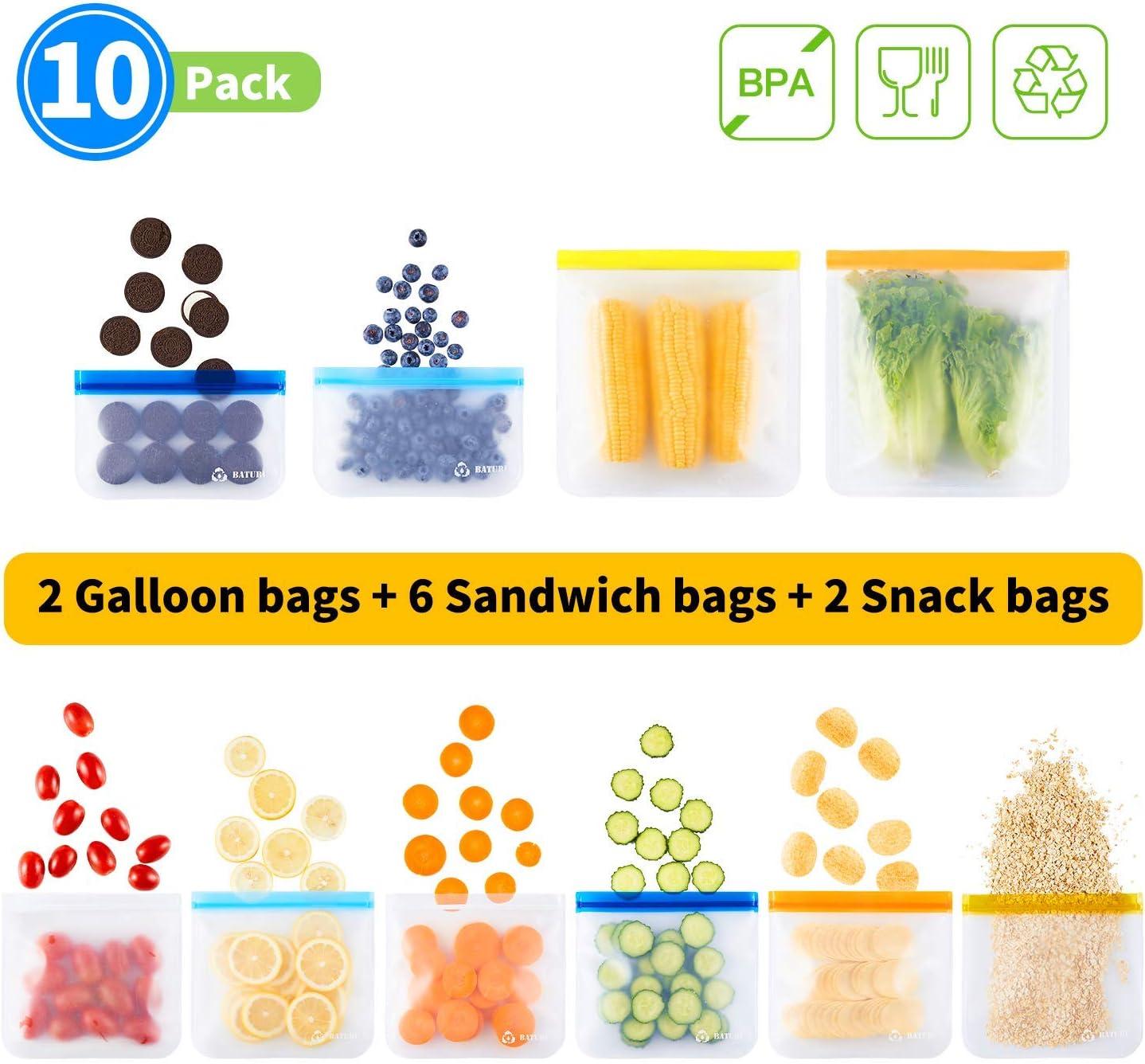 PEVA Reusable Storage Bags 10 Pack, Reusable Ziplock Bags BPA Free (6 PEVA Reusable Sandwich Bags + 4 PEVA Reusable Snack Bags), PEVA Reusable Lunch Bags for Food