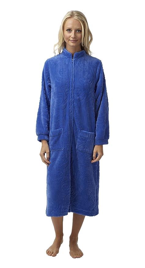 Bata de lana labrada para mujeres de Marlon, con cremallera y bolsillos de parche color rojo - Rojo Burdeos M : Amazon.es: Ropa y accesorios