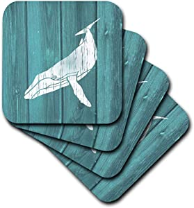 3dRose Humpback Whale Stencil in Faded White Paint Over Teal- Not Real Wood - Soft Coasters, Set of 8 (CST_220427_2)