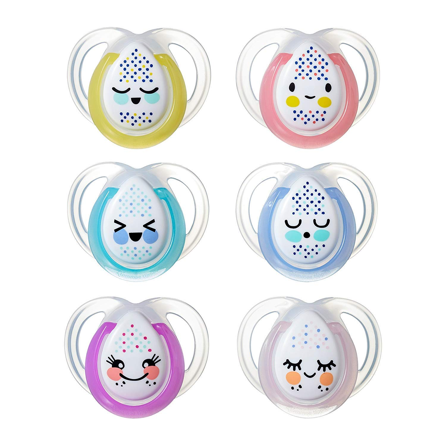 Tommee Tippee Closer to Nature Night Time Newborn Baby Pacifier, 0-6 months - 2 pack (Colors May Vary) 533066