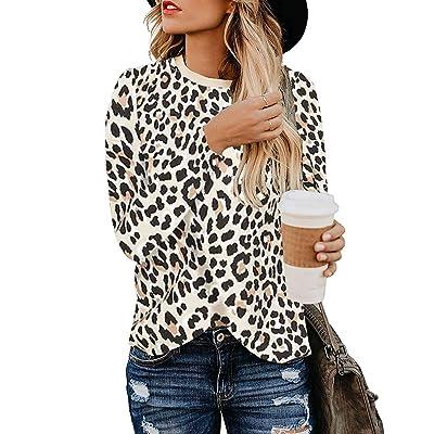 Women's Leopard Print Blouses Long Sleeve Crewneck Basic Casual Top Soft Shirts: Clothing