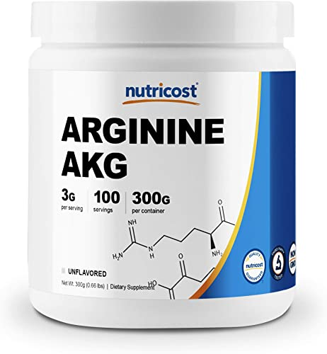 Nutricost Arginine AKG Powder 300 Grams AAKG - 3G Per Serving 100 Servings - Pure Arginine Alpha Ketoglutarate