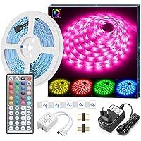Minger Striscia LED RGB 5M, LED Strisce Luci 5050 Cambiamento di Colore Kit completo con 44 tasti Telecomando IR Alimentatore Led Strip Illuminazione per Giardino, Bar, Festa, ecc