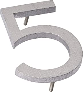 "product image for Montague Metal Products MHN-06-5-F-BA1 Solid Modern Floating Address House Numbers, 6"", Polished Brushed Aluminum"