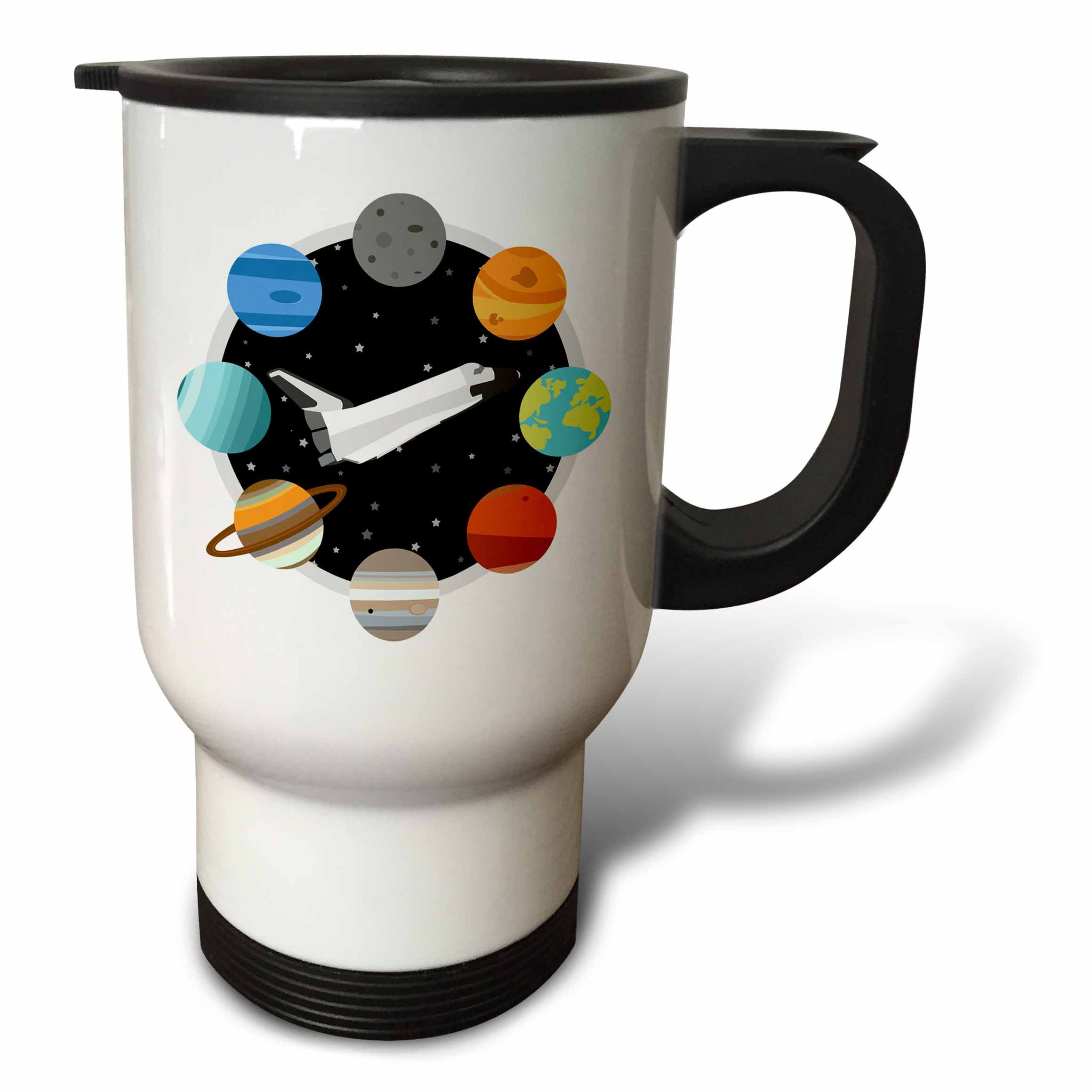 3dRose Janna Salak Designs Outer Space - Space Shuttle and Solar System - 14oz Stainless Steel Travel Mug (tm_283592_1)