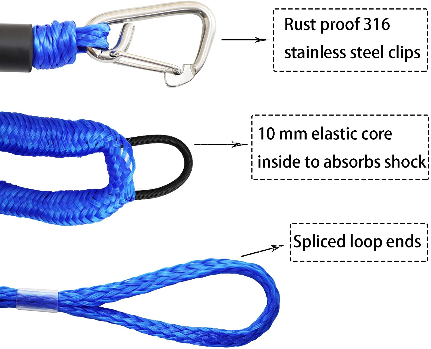 SeaDoo Watercraft 4pcs Jet Ski Power Boat Wave Runner Blue Bungee Boat Dock Lines with Hook 4 Feet Dockline Mooring Rope Boat Accessories Docking Lines PWC Shock Cords for Boats Kayak Canoe