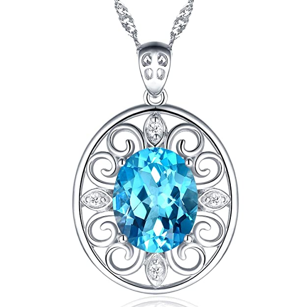 ❤️Gifts for Women❤️Fine Jewelry for Women Natural Gemstone Sterling Silver Pendant Necklace,Birthday,Anniversary for Her,Swiss Blue Topaz,Amethyst Citrine Peridot (Tail feathers)