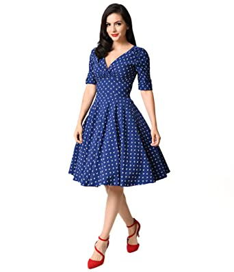 Unique Vintage 1950s Style Navy Blue & Anchor Print Delores Swing ...