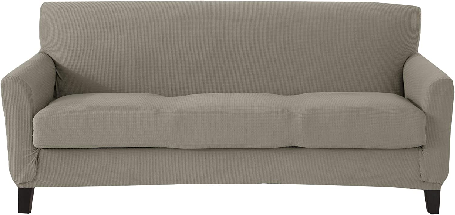 Great Bay Home Popcorn Textured Sofa Slipcover. Form Fit, Slip Resistant, Strapless Slipcover. Stretch Sofa Slipcover. Kova Collection (Sofa, Silver Cloud)