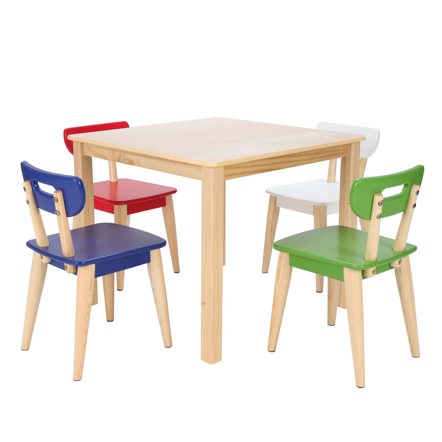 Max & Lily Natural Wood Kid and Toddler Square Table +  Modern Chairs (Blue, Red, Green, White) by Max & Lily
