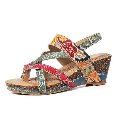 ee3eb05c0fcd92 Gracosy Sandales Compensées Femmes Cuir, Chaussures Été en Cuir Tongs Nu  Pieds à Talons Compensés
