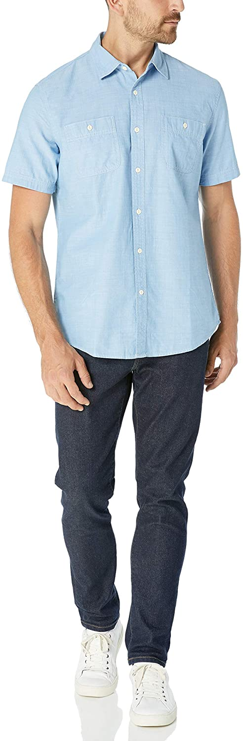 Camicia da uomo a maniche corte in chambray Essentials regular fit