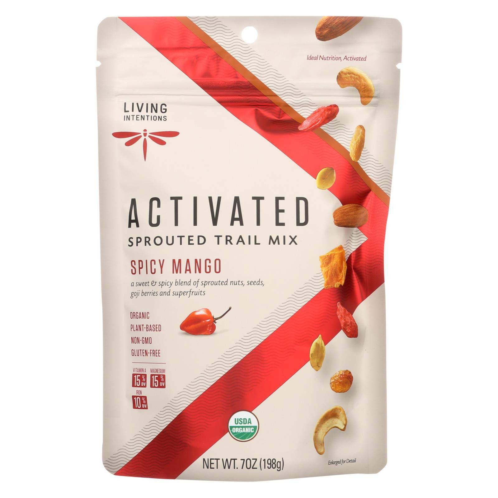 Living Intentions Trail Mix - Organic - Sprouted - Mango Goji Fire - 7 oz - case of 6 - 95%+ Organic - Gluten Free - Vegan