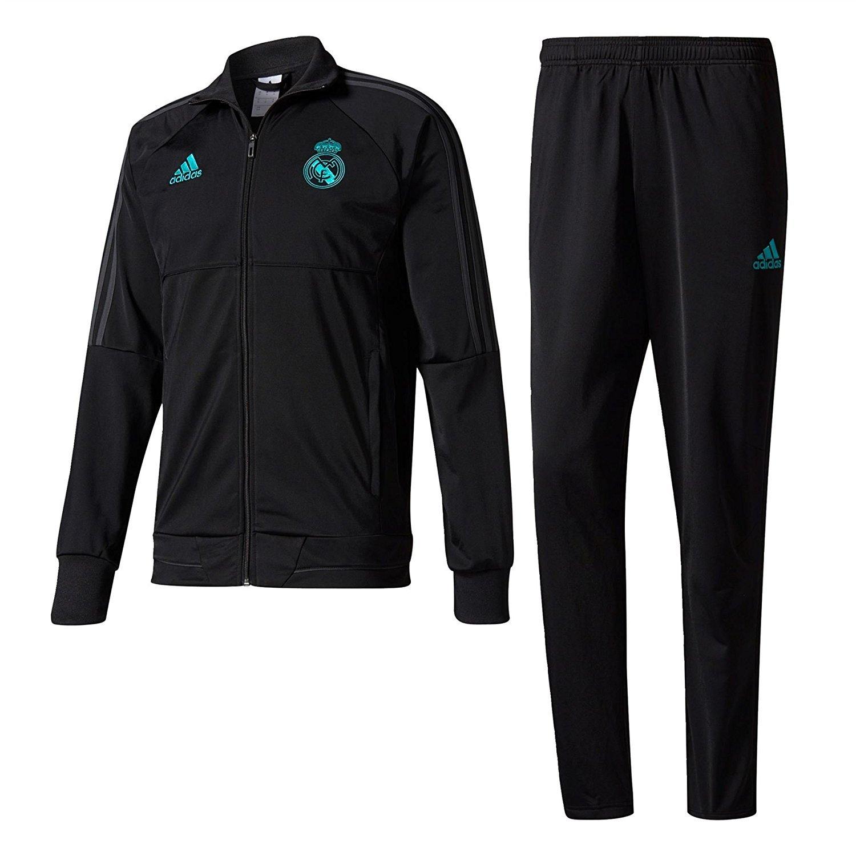 2017-2018 Real Madrid Adidas Presentation Tracksuit (Black) Kids B0721S3VGFBlack XL Boys 32-34\