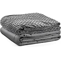 Premium Kids Weighted Blanket & Removable Cover-Dulcii 5 lbs Grey Weighted Blanket with Dotted Minky Duvet Cover|for a Child 40-60 lbs|(36''x48 Glass Beads|Cotton/Minky