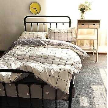bulutu white grid print cotton twin duvet cover sets reversible bedding cover sets 3 pieces hidden