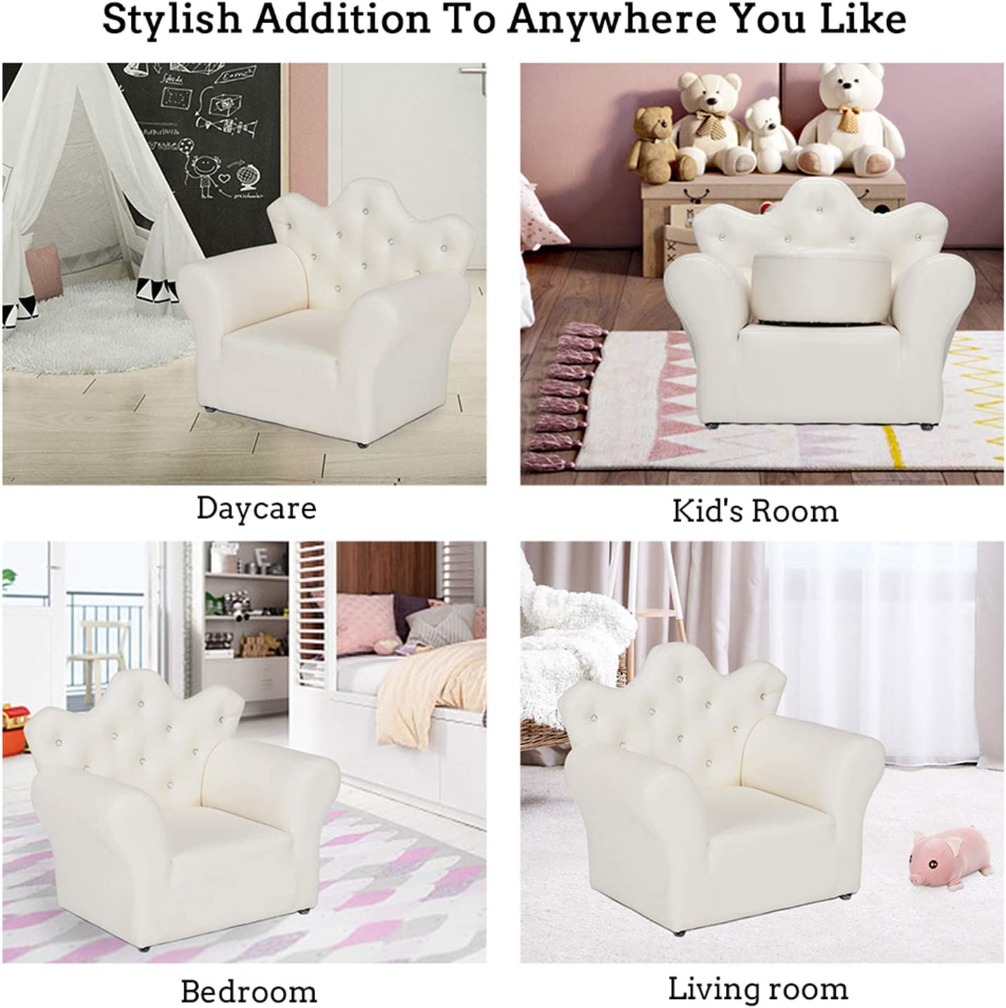 Kids sofa,LEIMIGO Kids armchair Soft and comfortable Special princess style Childrens chairs armchair(white)