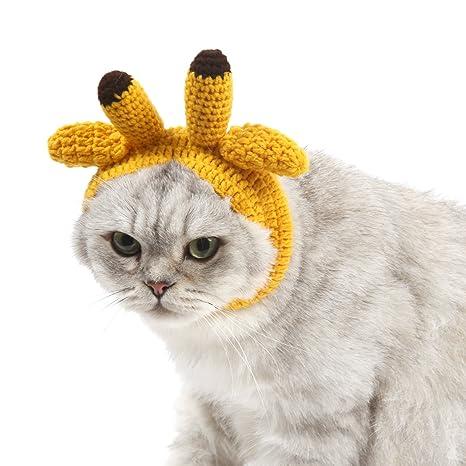 SWEET DEVIL Nuevo Sombrero Gorra para Gato Perrito Hecho a Mano de Lana Halloween Navidad Cosplay