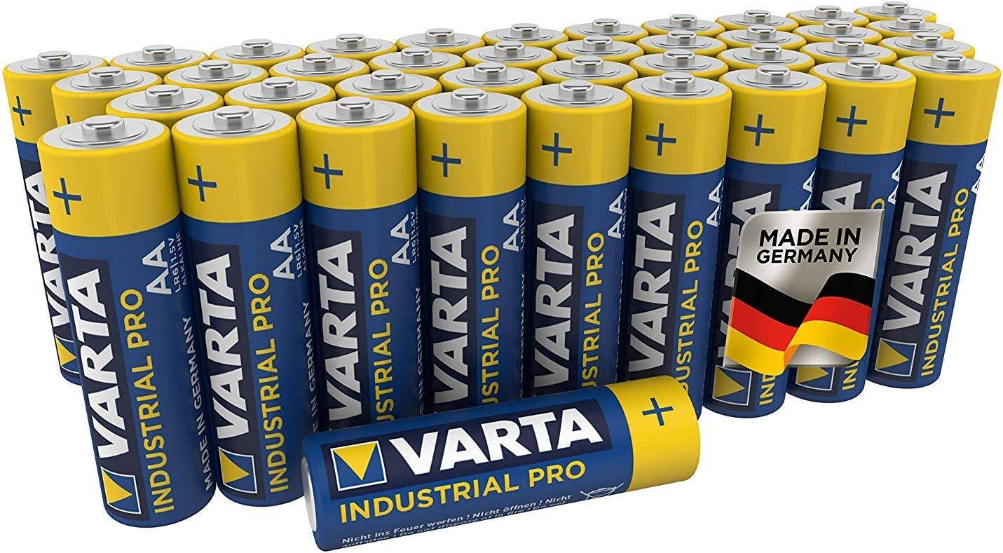 Pila AA Mignon Varta Industrial, pilas alcalinas LR6, paquete 40 unidades, «Made in Germany», embalaje ecológico