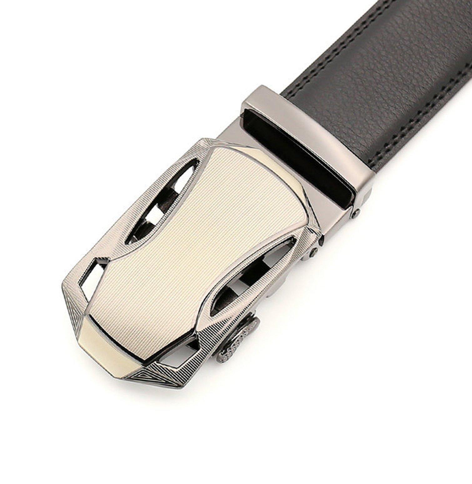 Men\'s Belt Leather Ratchet Belt with Automatic Buckle Black01
