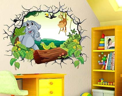 Disegni Murales Per Bambini.Adesivi Murali Bambini Stickerdesign Adesivo Murale Effetto 3d Decorativo Cameretta Bambini Foresta Con Tronco Albero Elefante Scimmietta Lombrico