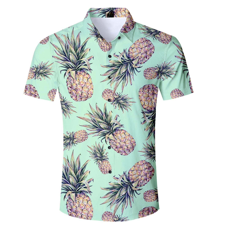 Yulongo Clothing Summer Fashion Casual Shirt Mens Short Sleeve Pineapple Shirt