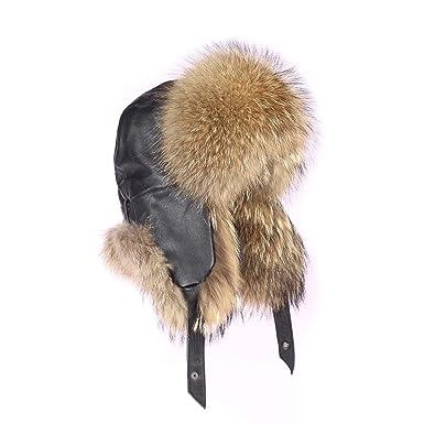 3a14faae1c561 mapache Gorro pelo-Gorro de zorro piel de aviador Invierno Gorro Gorro de  esquí Fox usch Anka Polar Gorro ruso Real Fell  Amazon.es  Ropa y accesorios
