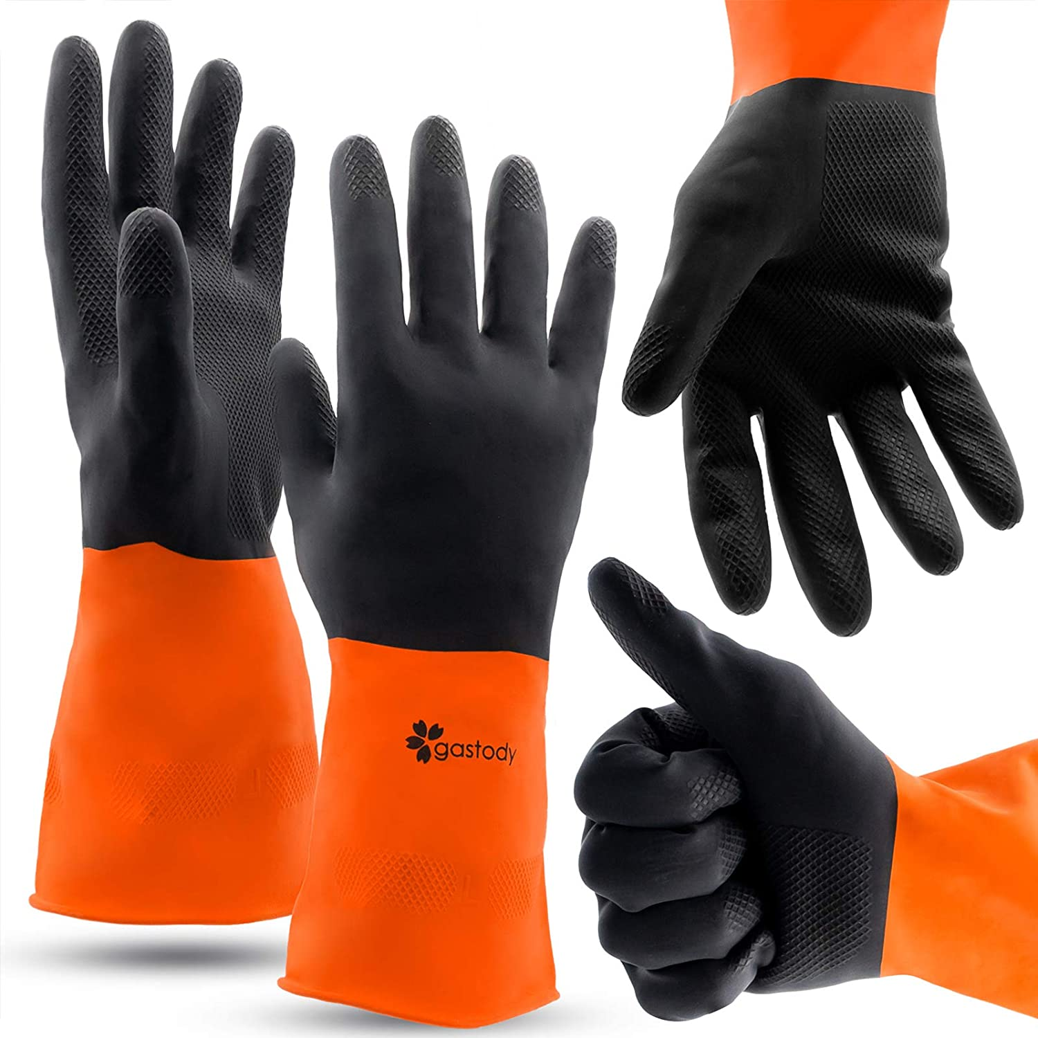 Chemical Gloves Set of 2 Pairs - Size M Gloves with High Protection for Your Hands-Waterproof Latex Gloves Anti-slip Grip For Firm Handling-Industrial Strength Household Chemical Industry Automotive: Clothing