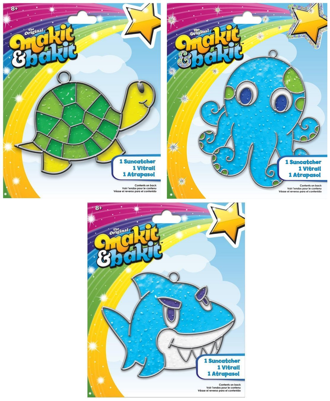 Suncatcher Kits - Turtle (1), Octopus (1), Shark (1) - by Makit & Bakit / Colorbok - sun catcher stained glass art project for kids - Boys, girls, and children 8 years and older - Bundle of 3