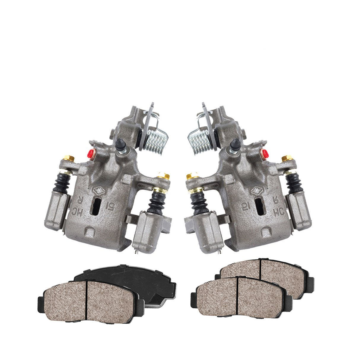 COEK00187 [2] REAR Premium Loaded OE Caliper Assembly Set + Quiet Low Dust Ceramic Brake Pads Callahan Brake Parts