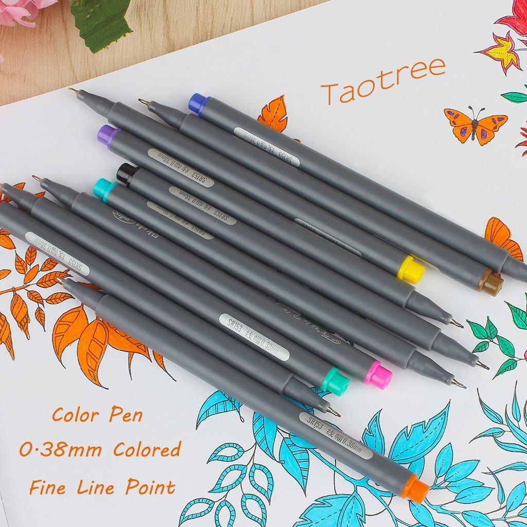 Fineliner Color Pen Set, Taotree 0.38mm Colored Sketch Drawing Pen, Porous Fine Point Markers for Bullet Journaling and Note Taking, 10 Assorted Colors by Taotree (Image #5)