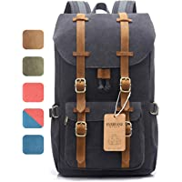 """EverVanz Outdoor Canvas Backpack, Travel Hiking Camping Rucksack Pack, Large Casual Daypack, College School Backpack, Shoulder Bags Fits 15"""" Laptop Tablets"""