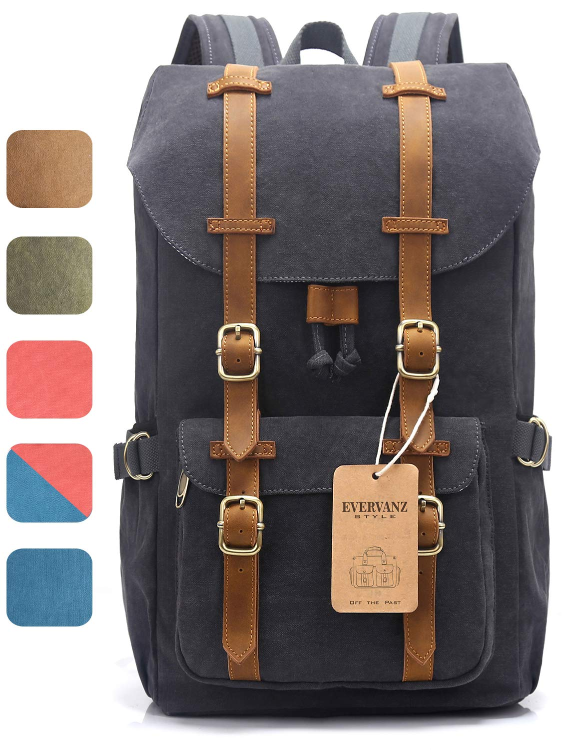 EverVanz Outdoor Canvas Backpack, Travel Hiking Camping Rucksack Pack, Large  Casual Daypack, College School Backpack, Shoulder Bags Fits 15