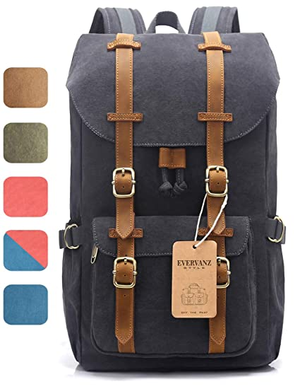 61bf3e6231f EverVanz Outdoor Canvas Backpack, Travel Hiking Camping Rucksack Pack,  Large Casual Daypack, College