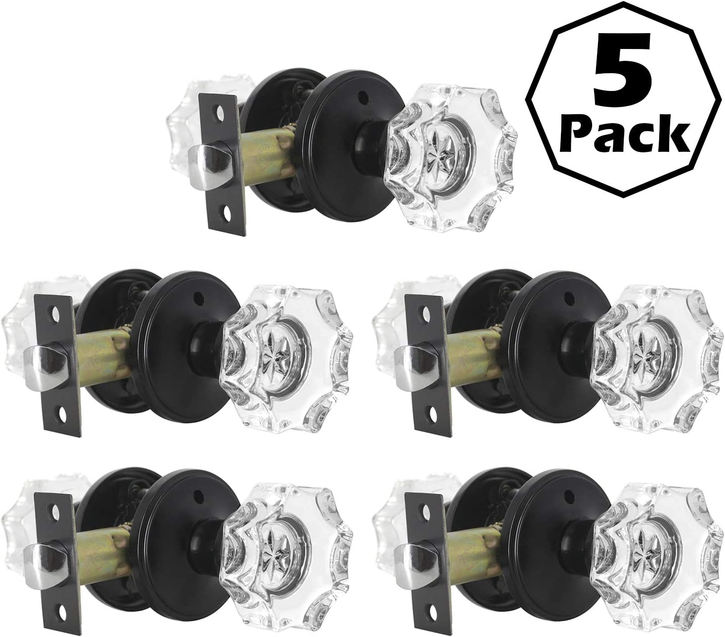 GOBEKOR 5 Pack Real Crystal Door Knob Sets with Lock Glass Privacy Knobs with Classic Rosette in Black,Interior Door Locksets for Bed and Batrh
