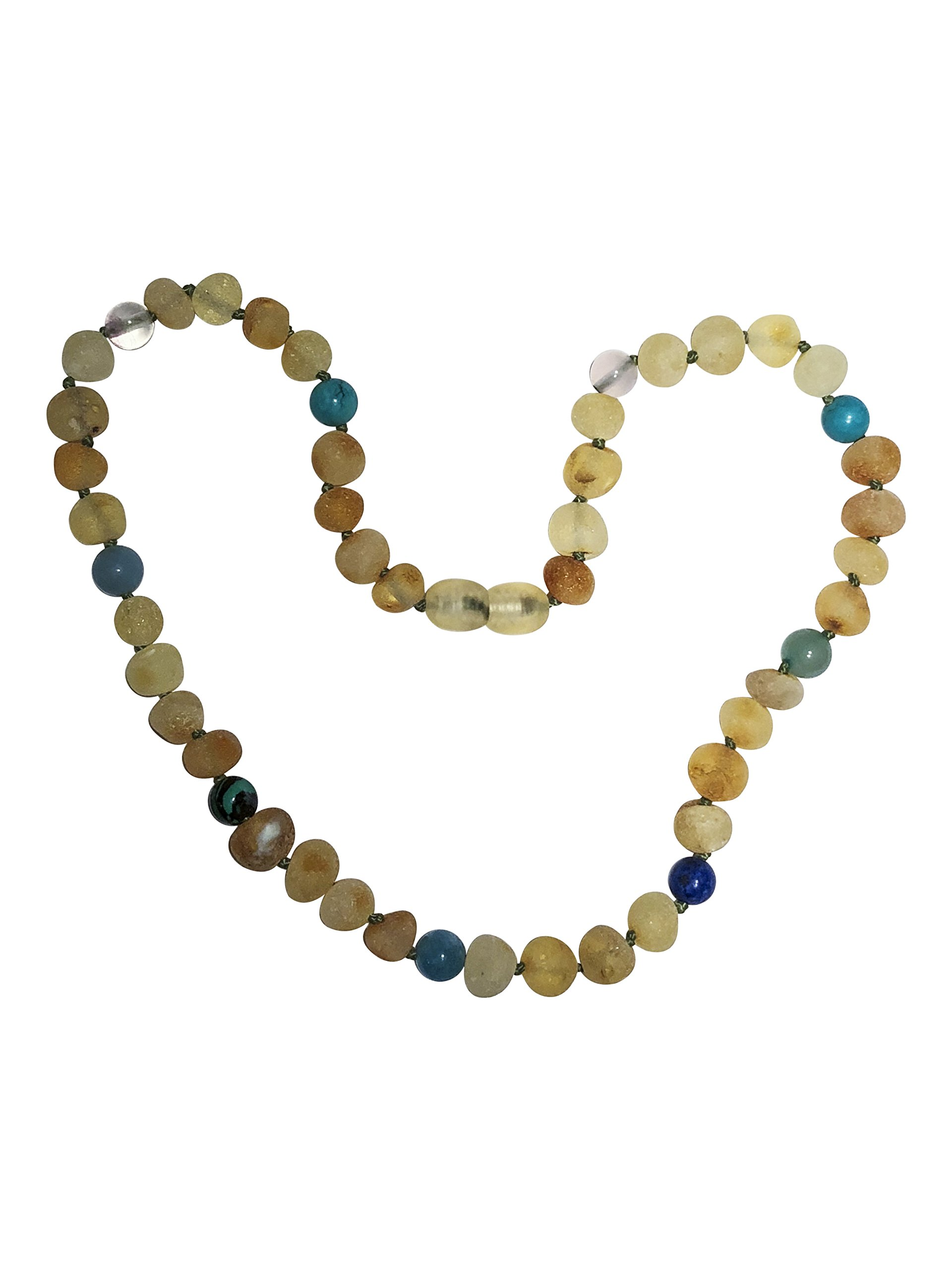 Baltic Amber Necklace for Kids- 15 inch- Immune System Boost - Positivity and Focus. for Children Ages 4-15 (Blue/Green)