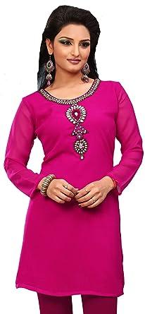 Maple Clothing Indian Tunics Kurti Top Blouse Party Dress Womens India Apparel (Pink, XXXL