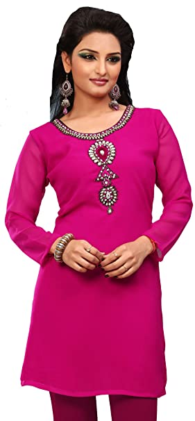MapleClothing Indian Larga Túnicas Kurti Top Diseñador para Mujer India Apparel (Rosa, XXXL)